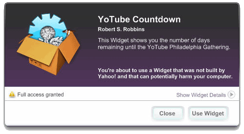 Yahoo! Widget Grant Access